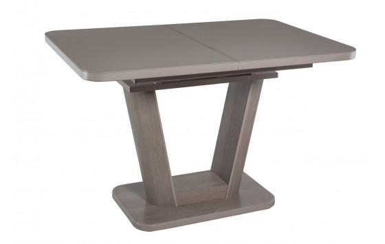 Стол обеденный раскладной стеклянный с МДФ дуб серо-бежевый сатин DAOSUN DT 8104 U