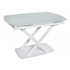 Стіл обідній розкладний скляний білий мармур сатин DAOSUN DT 8106