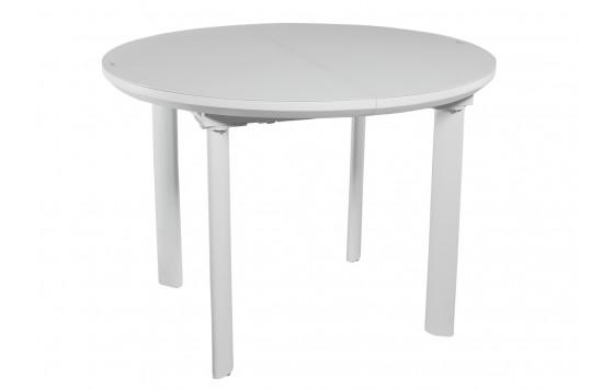 Стол обеденный раскладной стеклянный с МДФ белый сатин DAOSUN DT 8107