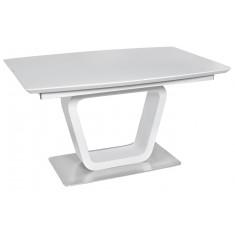 Стол обеденный раскладной стеклянный с МДФ белый сатин DAOSUN DT 8108