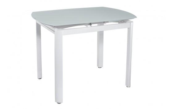 Стіл кухонний розкладний скляний білий сатин DAOSUN DT 8109