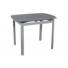 Стіл кухонний розкладний скляний сірий сатин DAOSUN DT 8109