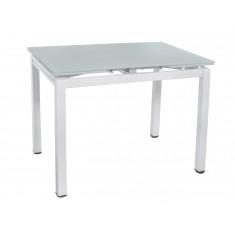 Стіл обідній розкладний скляний білий сатин DAOSUN DT 8110