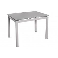 Стіл обідній розкладний скляний сірий сатин DAOSUN DT 8110