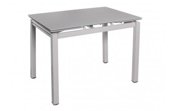 Стол обеденный раскладной стеклянный серый сатин DAOSUN DT 8110