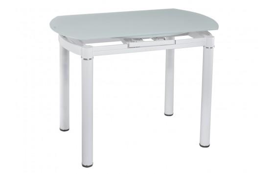 Стіл кухонний розкладний скляний білий сатин DAOSUN DT 8111
