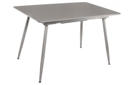 Стол обеденный раскладной стеклянный с МДФ серо-бежевый сатин DAOSUN DT 859