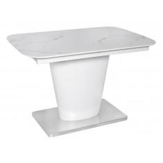 Стіл обідній розкладний скляний з МДФ білий мармур сатин DAOSUN DT 874
