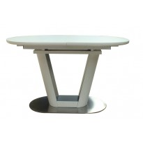 Стіл обідній розкладний скляний з МДФ білий сатин DAOSUN DT 8105
