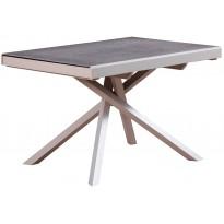 Стол обеденный раскладной стеклянный с камнем серый DAOSUN RF 1102 ADT