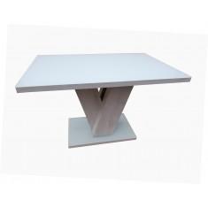 Стіл обідній нерозкладній скляний з МДФ білий дуб DAOSUN DSТ 402