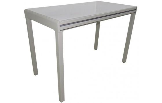 Стіл кухонний розкладний скляний сіро-бежевий DAOSUN RF 3028 5DT