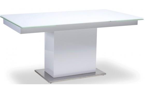 Стіл обідній розкладний скляний білий DAOSUN TS 118
