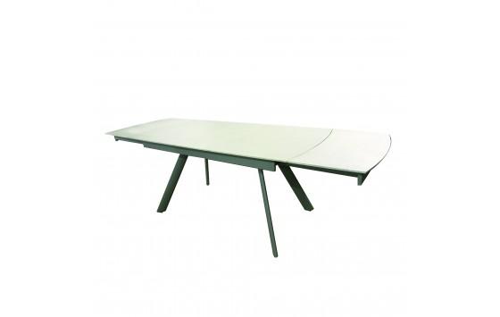 Стол обеденный раскладной стеклянный с камнем светло-бежевый DAOSUN DF 129T