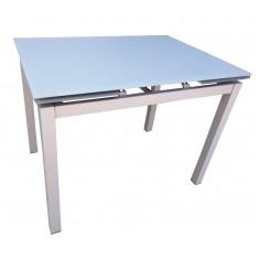 Стол кухонный раскладной стеклянный серо-бежевый сатин DAOSUN DT 8110