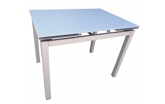 Стіл обідній розкладний скляний сіро-бежевий DAOSUN DT 8110