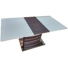 Стол обеденный раскладной стеклянный с МДФ шампань с венге сатин DAOSUN DSТ 407