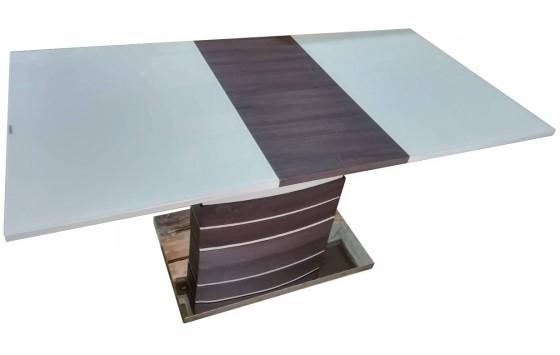 Стол обеденный раскладной стеклянный с МДФ шампань с венге DAOSUN DST 407