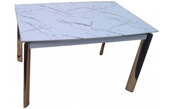 Стіл обідній розкладний скляний під білий мармур DAOSUN DSТ 017