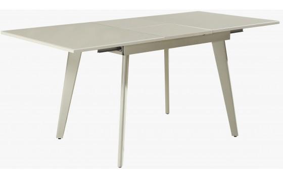 Стол обеденный раскладной стеклянный с МДФ серо-бежевый DAOSUN DSТ 156