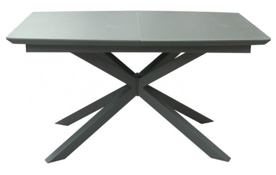 Стол обеденный раскладной стеклянный с МДФ серый сатин DAOSUN DT 888B
