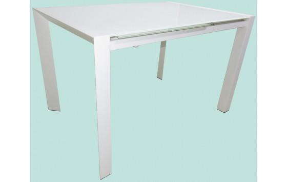 Стіл кухонний розкладний скляний білий DAOSUN RF 1055 ADT