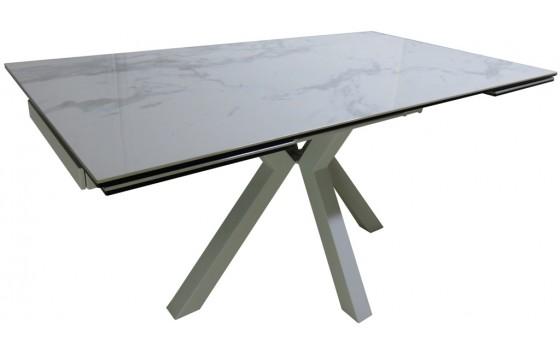 Стол обеденный раскладной стеклянный с керамикой белый мрамор DAOSUN RF 5201 DT
