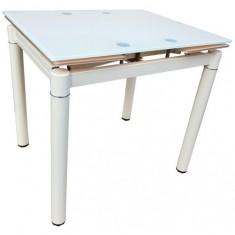 Стіл кухонний розкладний скляний білий DAOSUN DST 020