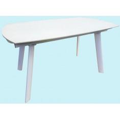 Стол обеденный раскладной стеклянный с камнем белый DAOSUN DST 105