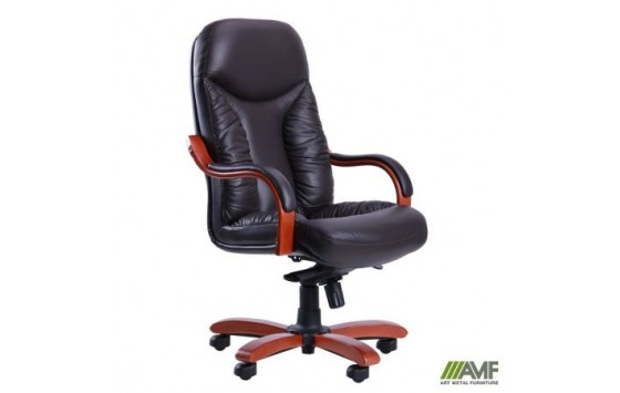 Кресло Буффало НВ коньяк Кожа Люкс комбинированная Темно-коричневая