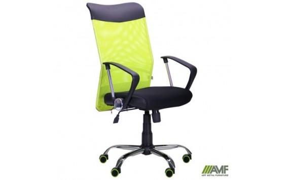 Крісло АЕРО HB Line Color сидіння Сітка чорна, Неаполь N-20 / спинка Сітка салатова, вст.Неаполь N-20