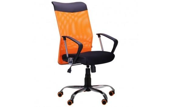 Крісло АЕРО HB Line Color сидіння Сітка чорна, Неаполь N-20 / спинка Сітка помаранчева, вст.Неаполь N-20