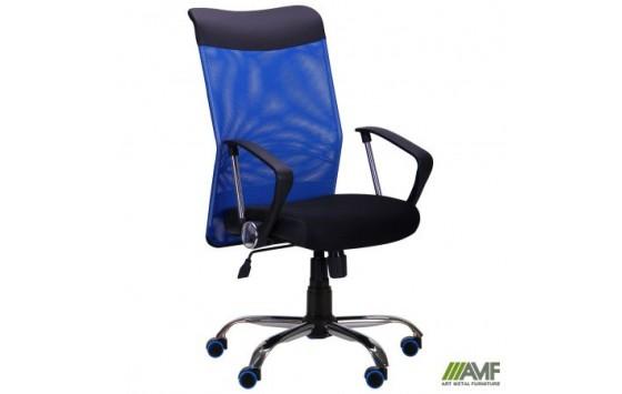 Крісло АЕРО HB Line Color сидіння Сітка чорна, Неаполь N-20 / спинка Сітка синя, вставка Неаполь N-20