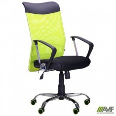 Крісло АЕРО HB Line Color сидіння Сітка чорна, Неаполь N-20 / спинка Сітка салат..