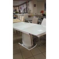 Стіл обідній розкладний скляний з МДФ білий DAOSUN DST 008